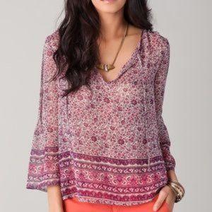 Joie 100% Silk Purple floral peasant top